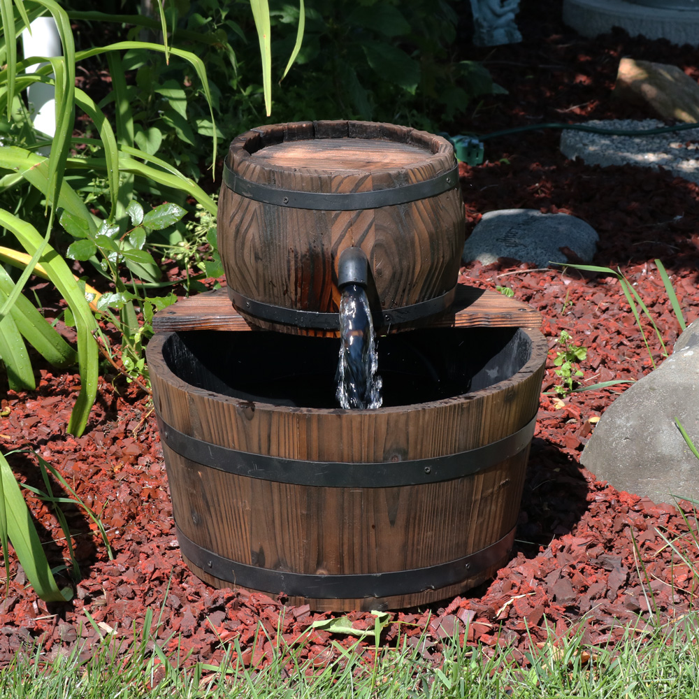 Sunnydaze Rustic Wooden Barrel Outdoor Garden Water Fountain Tall Perfect Patio Garden Image 222