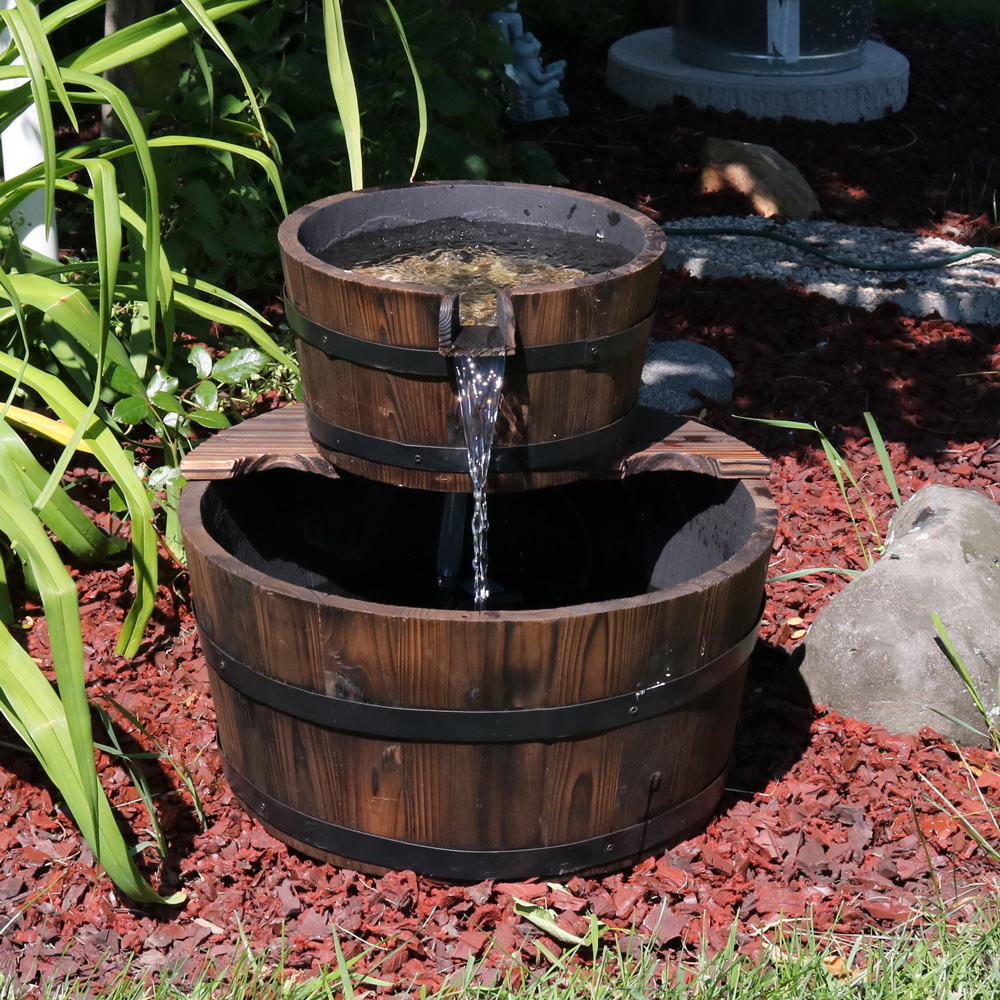 Sunnydaze Rustic Stacked Wooden Bowls Outdoor Water Fountain Perfect Patio Garden Or L Image 249