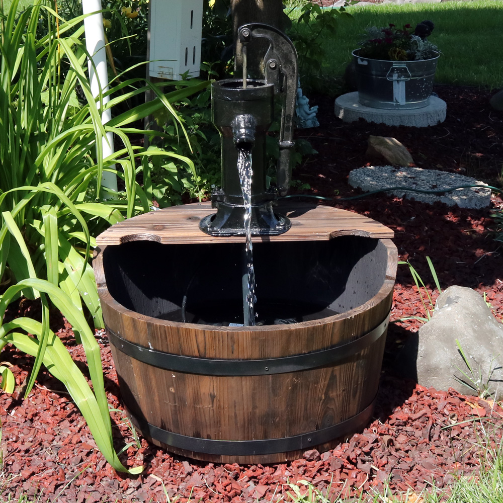 Sunnydaze Old Fashioned Wood Bin Outdoor Fountain Picture 514