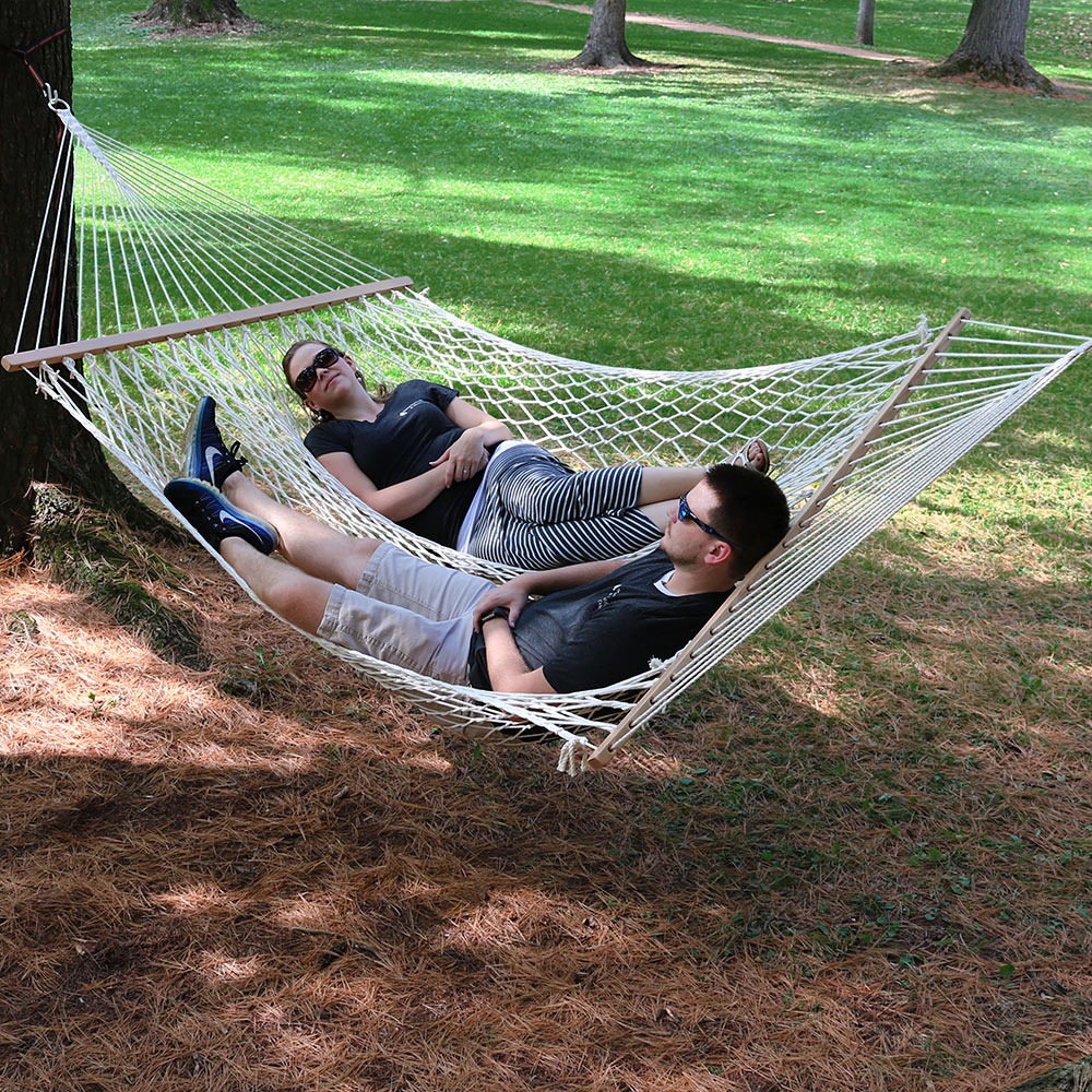 Sunnydaze Double Wide Person Cotton Spreader Bar Rope Hammock Person Pound Capacity Picture 931