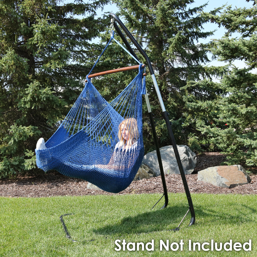Sunnydaze Hanging Caribbean Extra Large Hammock Chair Soft Spun Polyester Rope Wide Seat M Photo