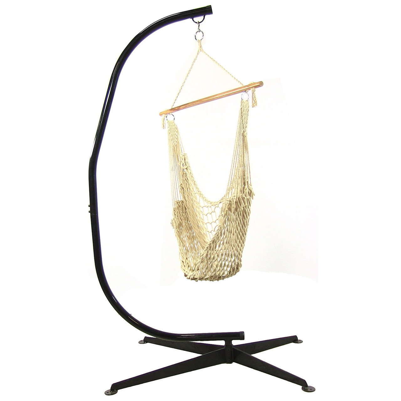 Sunnydaze Cotton Rope Hammock Chair w/Spreader Bar & Stand ...