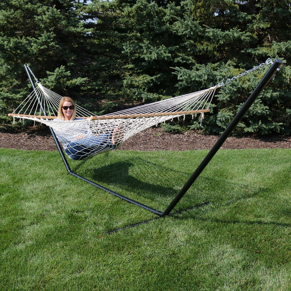 Sunnydaze Cotton Single Person Spreader Bar Rope Hammock Picture 495