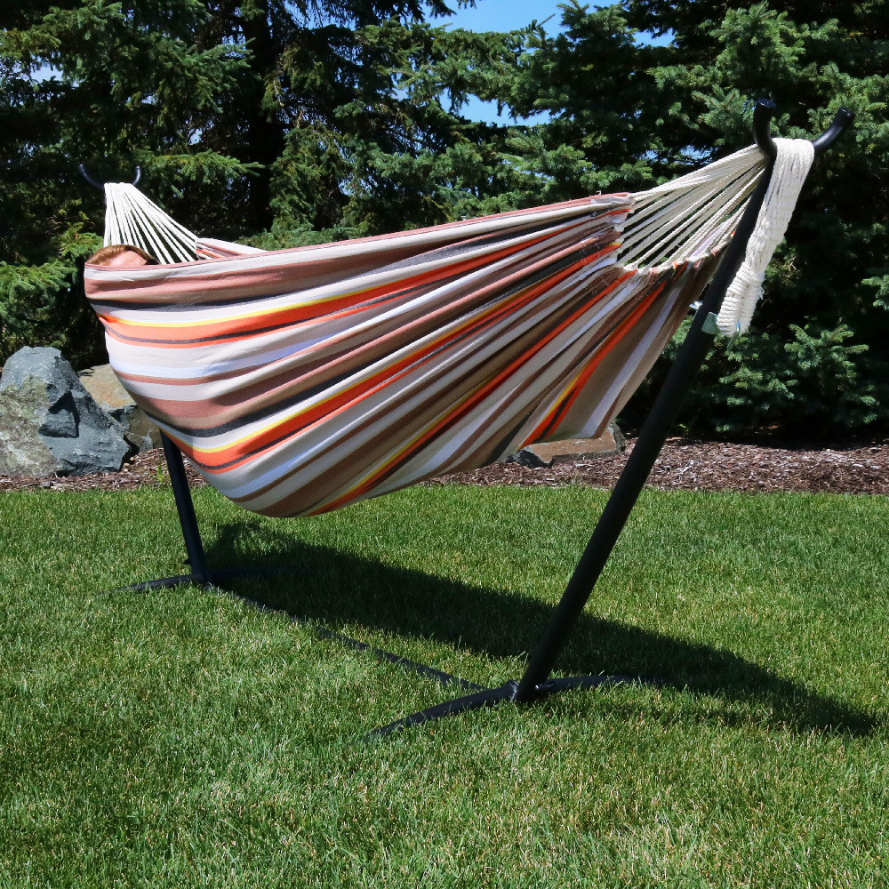 Sunnydaze Premium Natural Tightly Woven Cotton Double Brazilian Hammock Stand Set Beach  Image 401