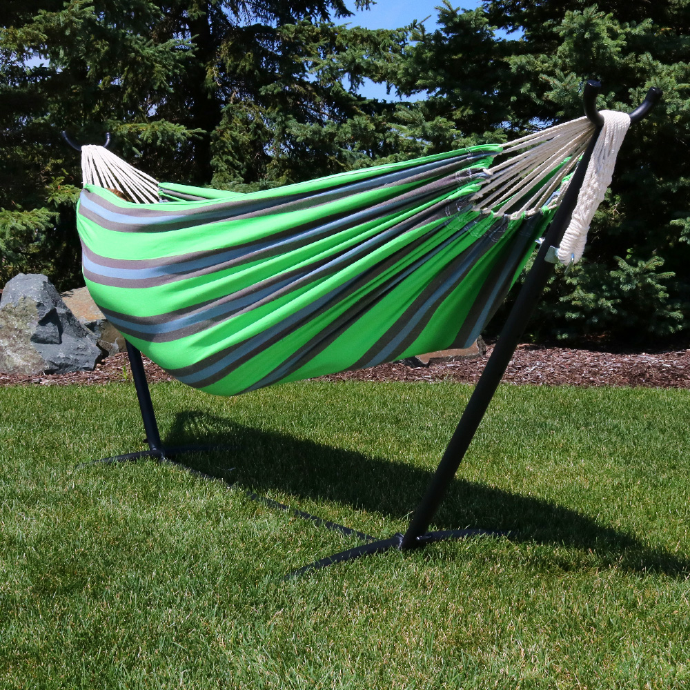 Sunnydaze Premium Natural Tightly Woven Cotton Double Brazilian Hammock Stand Set Midnig Photo