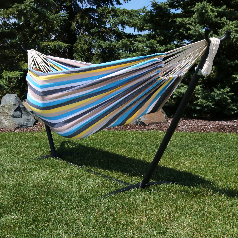 Sunnydaze Premium Natural Tightly Woven Cotton Double Brazilian Hammock Stand Set Ocean  Image 220