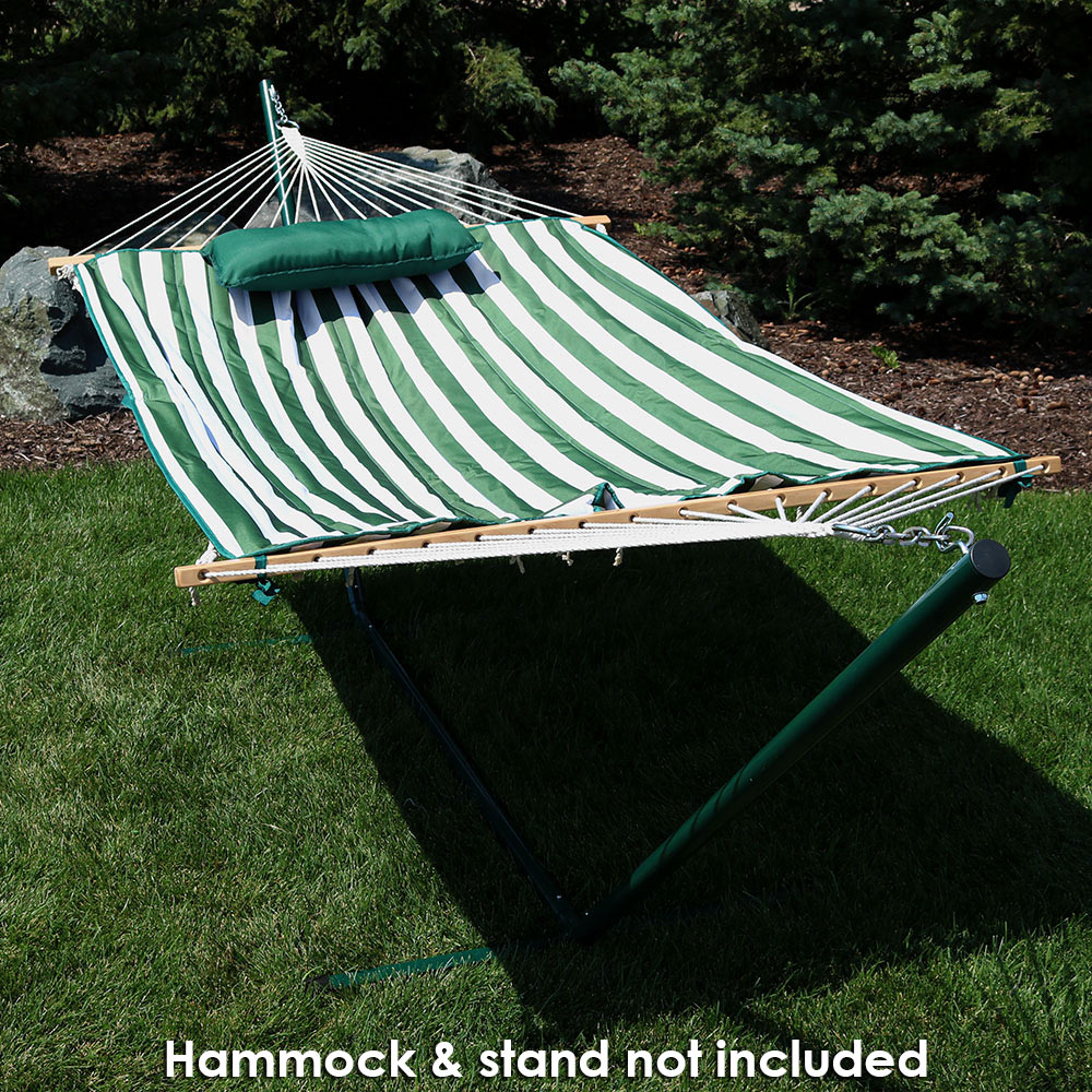 Image of Sunnydaze Weather-Resistant Outdoor Polyester Quilted Hammock Pad and Pillow Only Set, Green/White Stripe