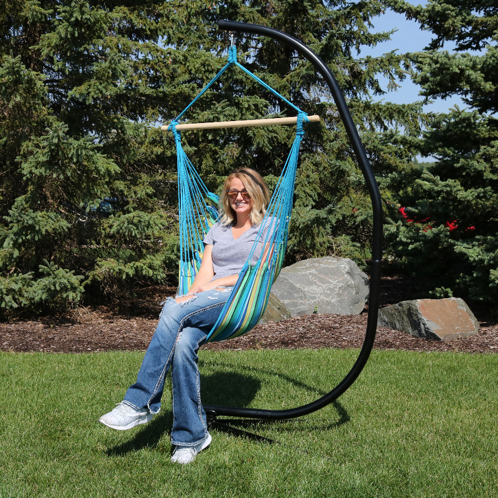 Sunnydaze Hanging Hammock Chair Swing Stand Set Ocean Breeze Indoor Or Outdoor Use M Photo