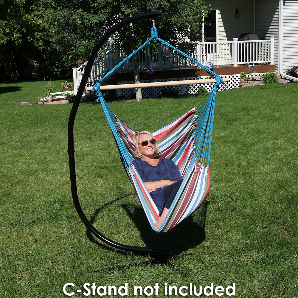Sunnydaze jumbo hanging chair hammock swing c stand combo multiple options ebay - Choosing a hammock chair for your backyard ...