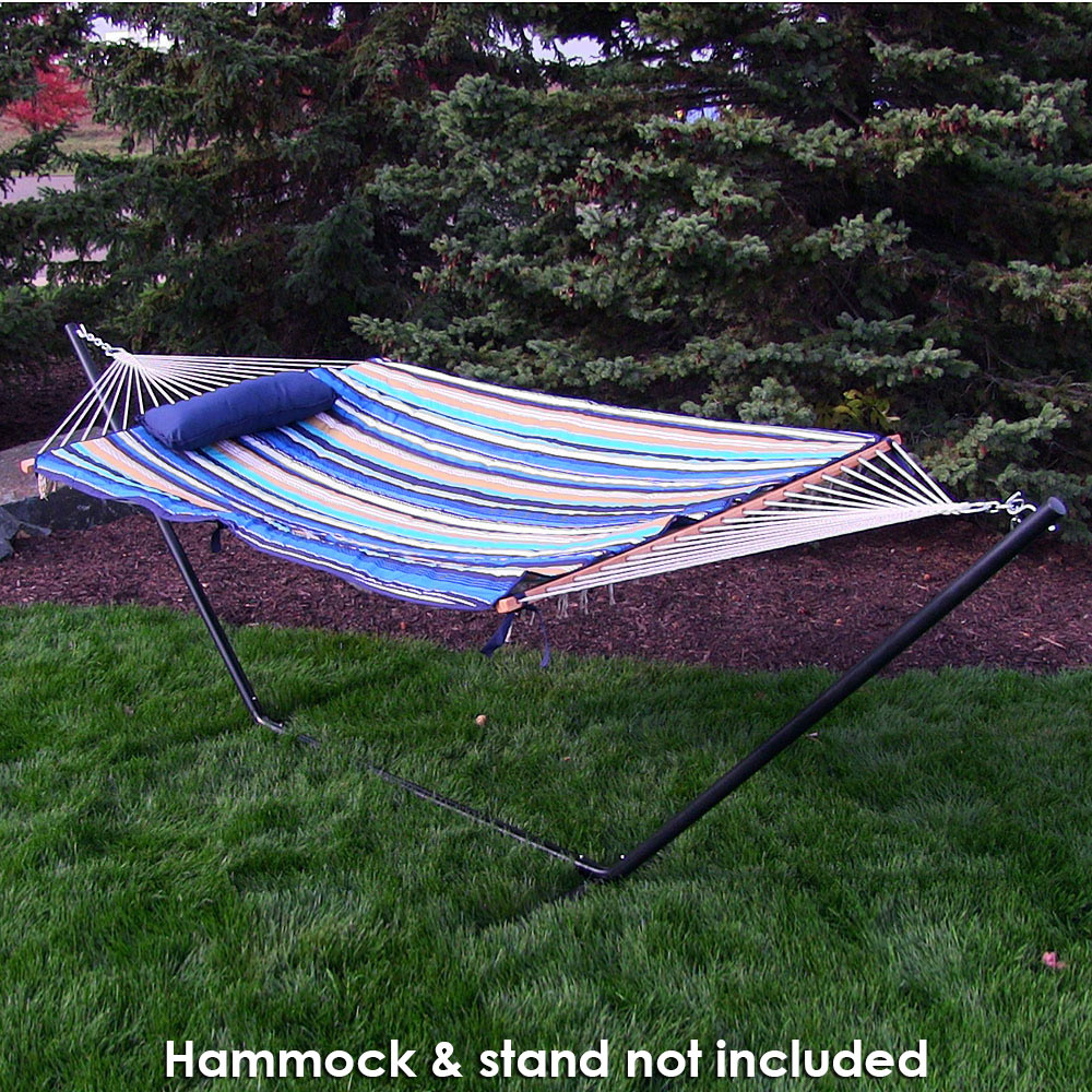 Image of Sunnydaze Weather-Resistant Outdoor Polyester Quilted Hammock Pad and Pillow Only Set, Lake View