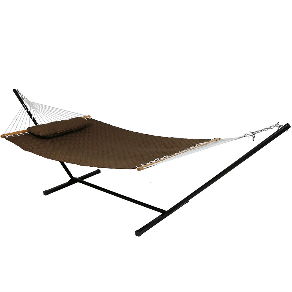 2 Person Hammock W Spreader Bars Pillow Quilted Design