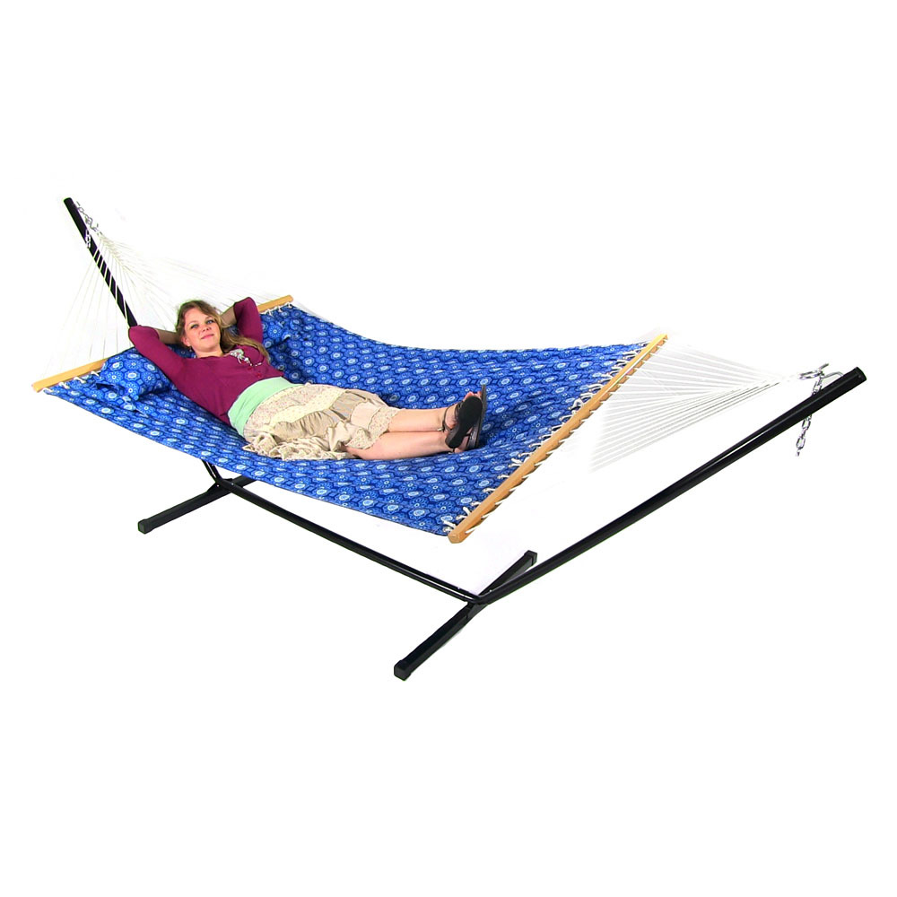2 Person Hammock W Spreader Bar Pillow Quilted Double