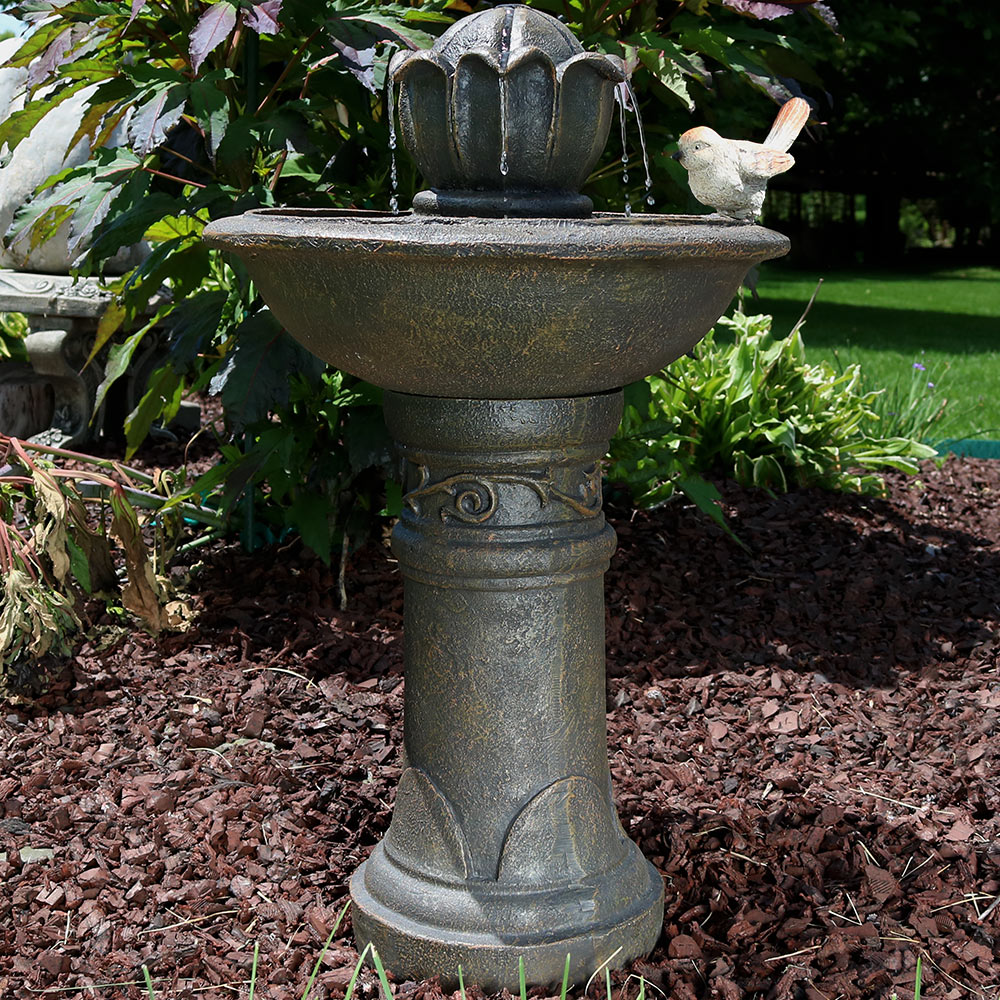 Sunnydaze Blooming Birdbath Outdoor Water Fountain Picture 463
