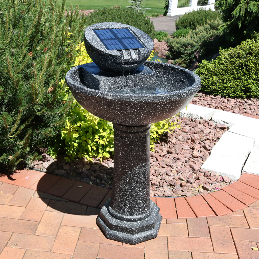 Sunnydaze Modern Solar Birdbath Outdoor Water Fountain es Includes Solar Pump Panel Photo