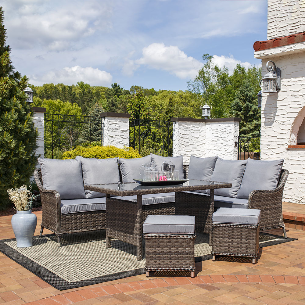Sunnydaze Aurelia Wicker Rattan Sofa Dining Patio Furniture Set Image 919