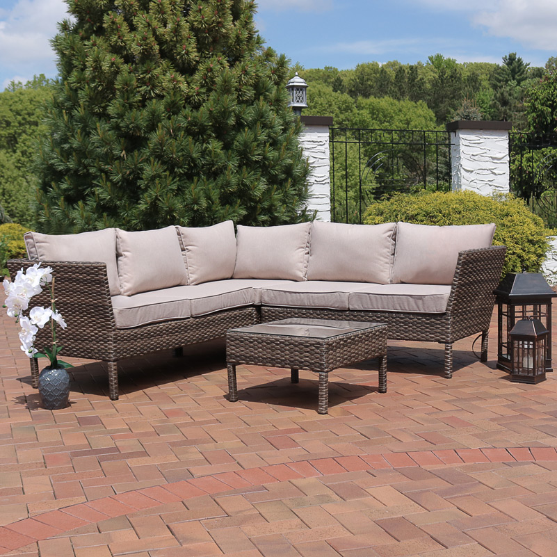 Sunnydaze Avel Wicker Rattan Sofa Sectional Patio Furniture Set Image 966