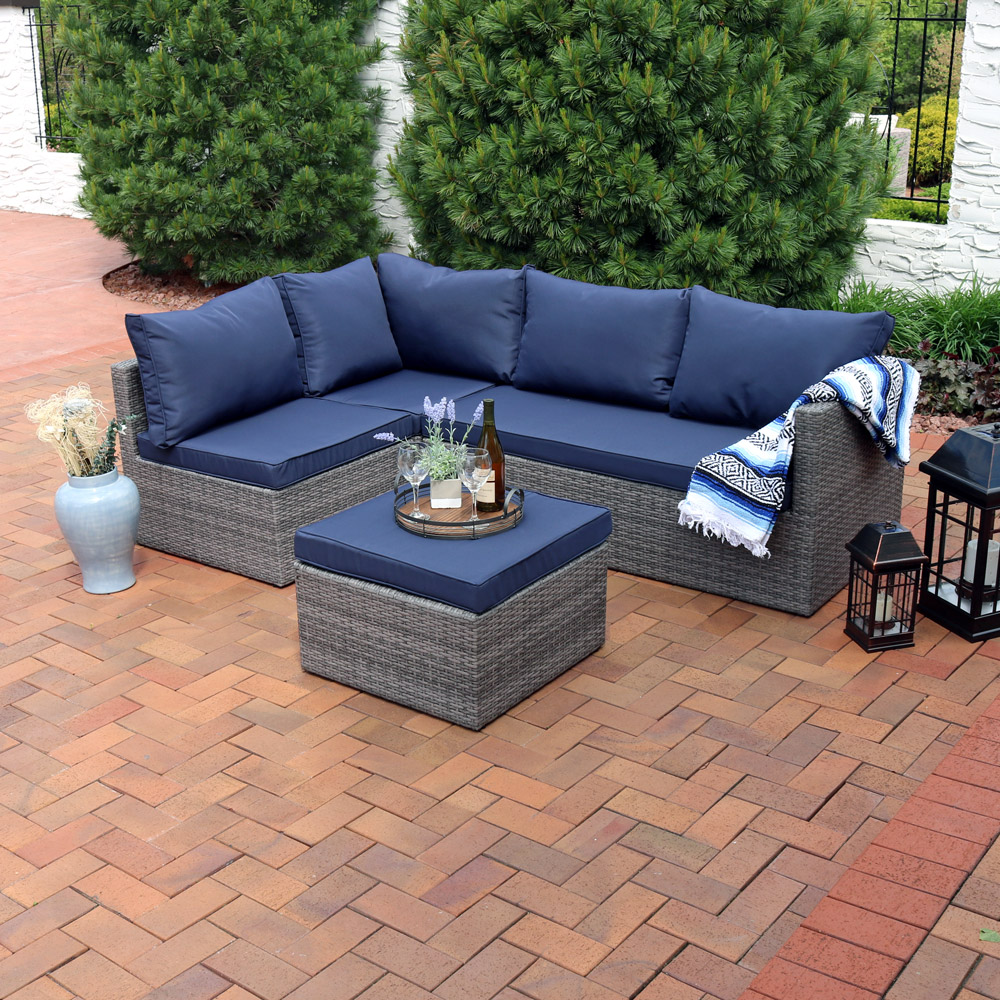 Sunnydaze Port Antonio Wicker Rattan Patio Sofa Sectional Set Picture 102