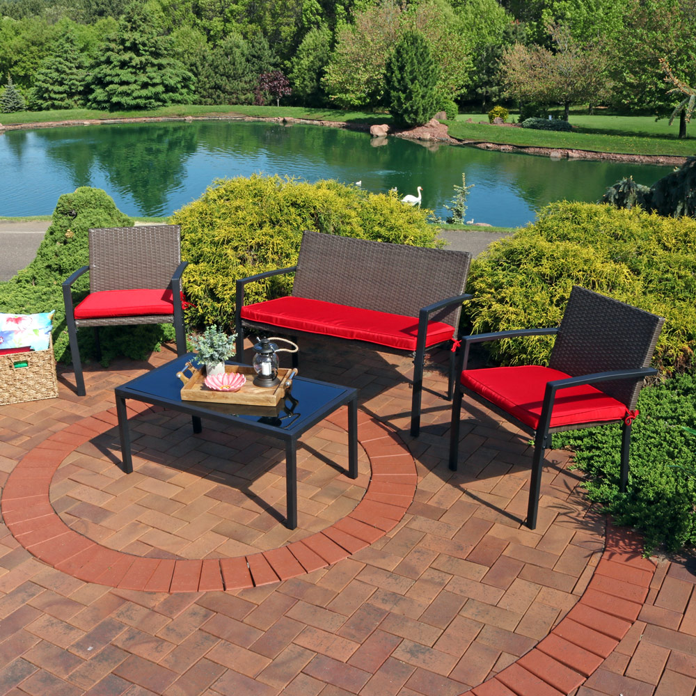 Sunnydaze Kula Wicker Rattan Patio Furniture Lounger Set Picture 289
