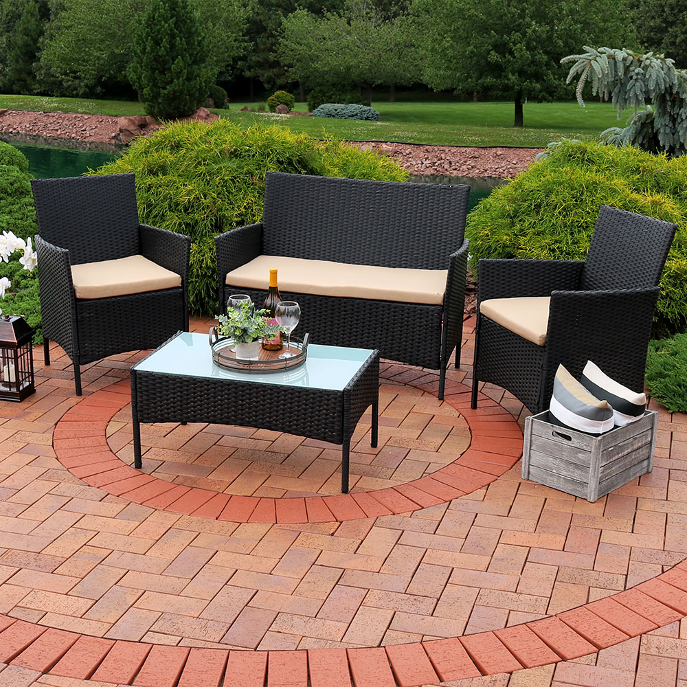 Sunnydaze Enmore Wicker Rattan Lounger Patio Furniture Set Picture 270