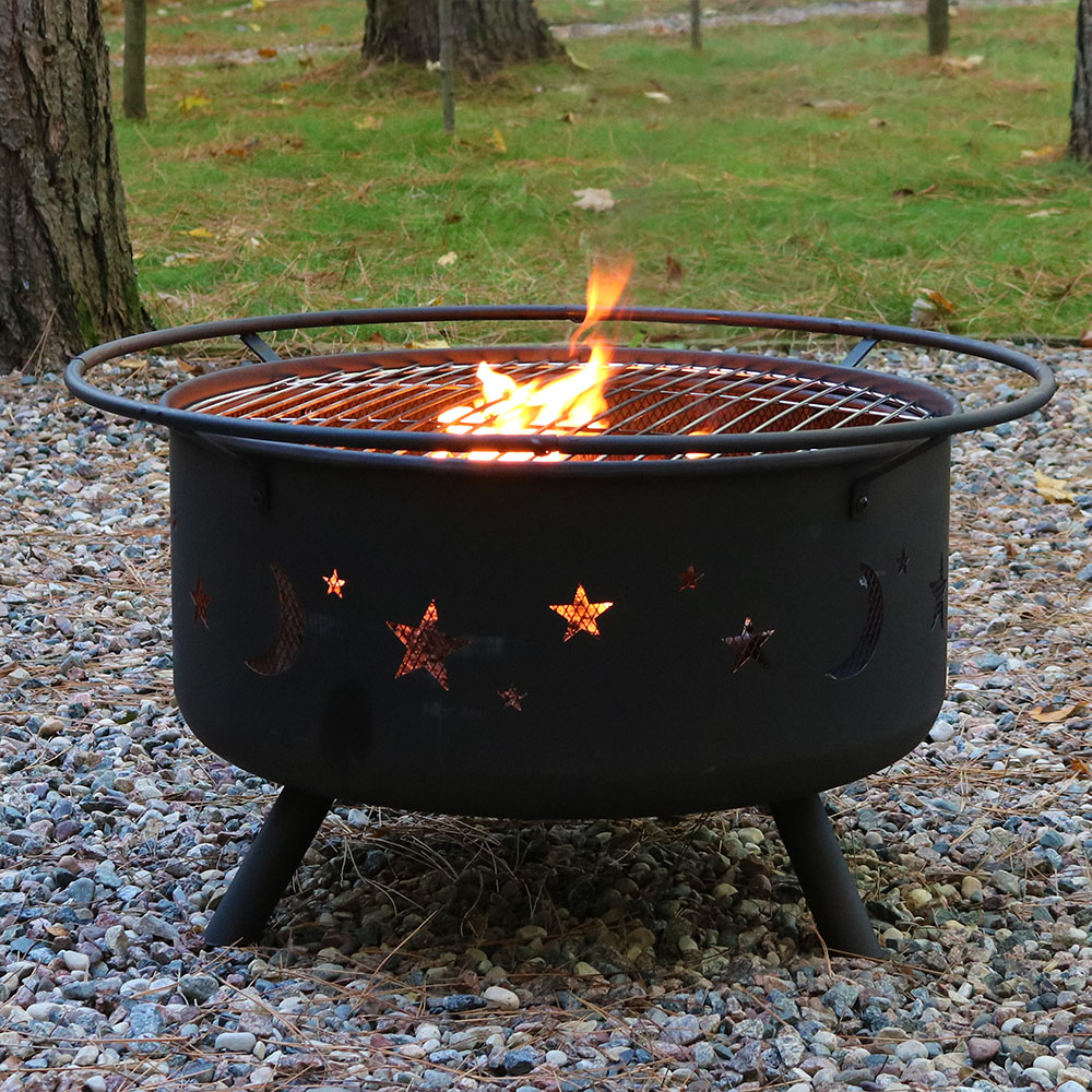 Large cosmic fire pit or fire pit cooking grill combo for Big fire pit