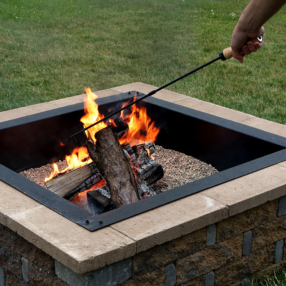 Sunnydaze Steel Fire Pit Poker Stick with Wood Handle - Outdoor Heavy Duty Metal Camping Fireplace Tool - Rustic Outside Campfire Accessory - 32 Inch Long