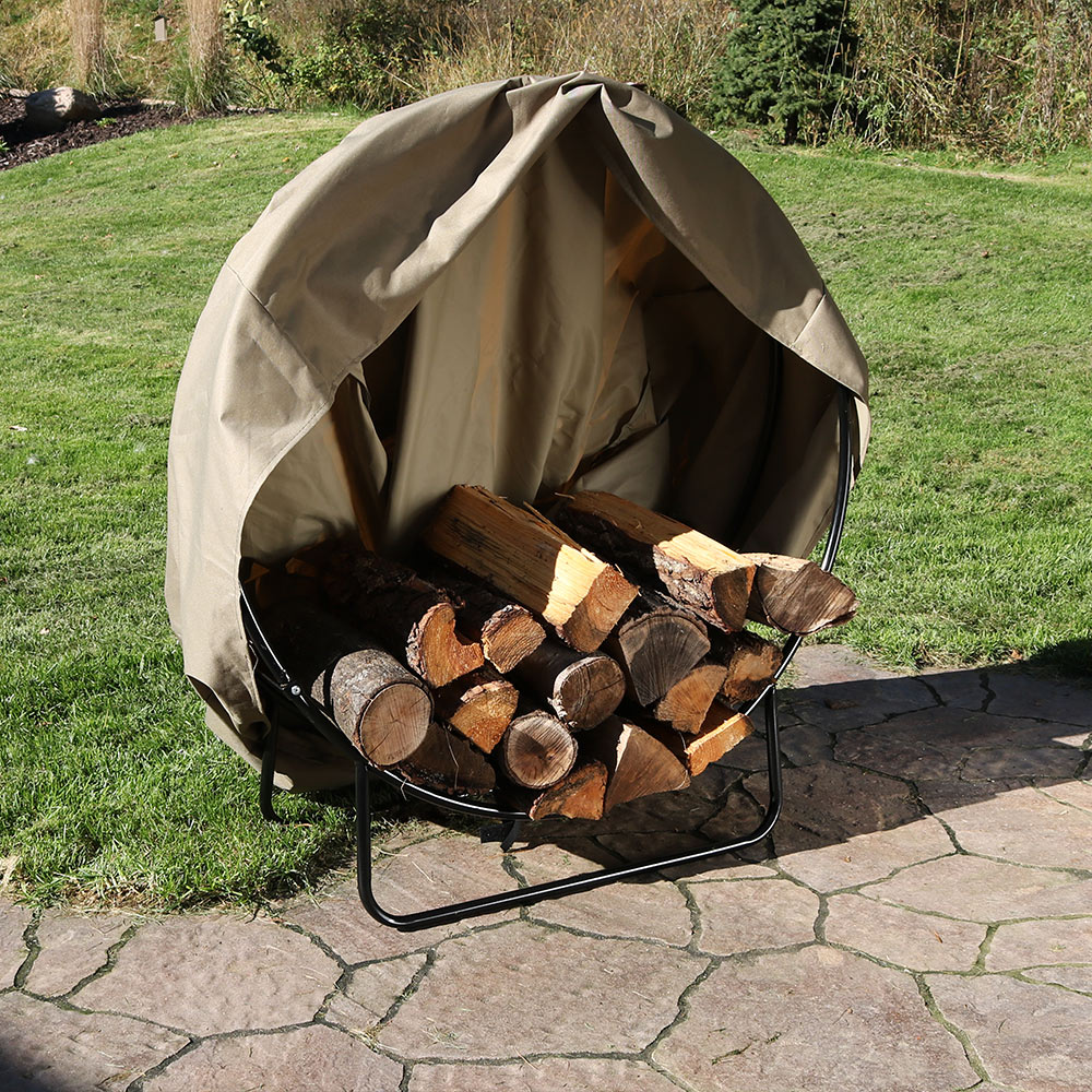 Sunnydaze Steel Firewood Log Hoop W Khaki Cover Picture 558