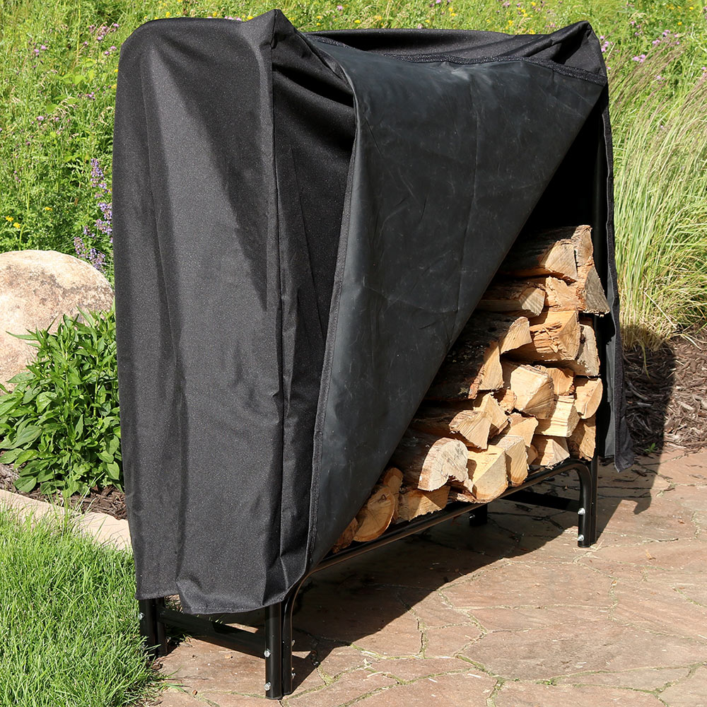 Sunnydaze Foot Firewood Log Rack Log Rack Cover Combo Picture 788