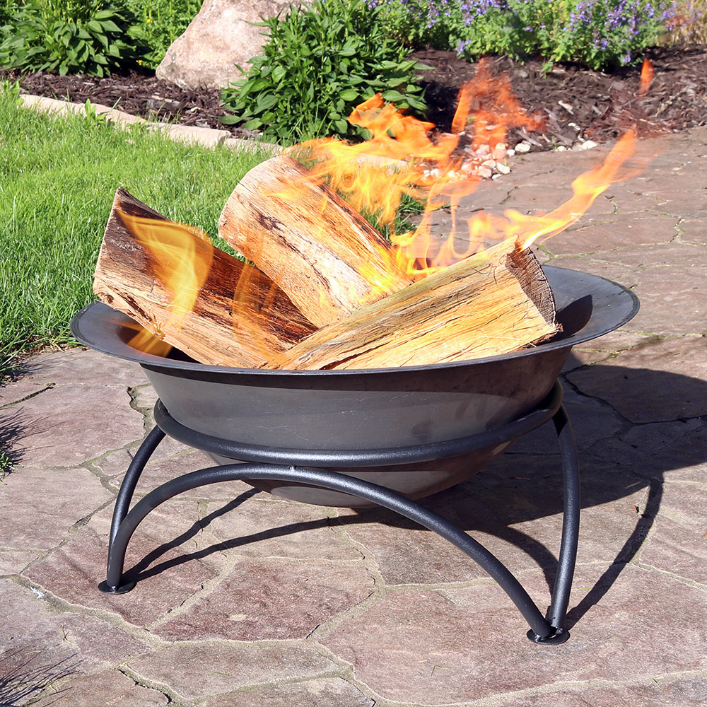 Sunnydaze Small Dark Wood Burning Cast Iron Fire Pit Bowl Picture 774
