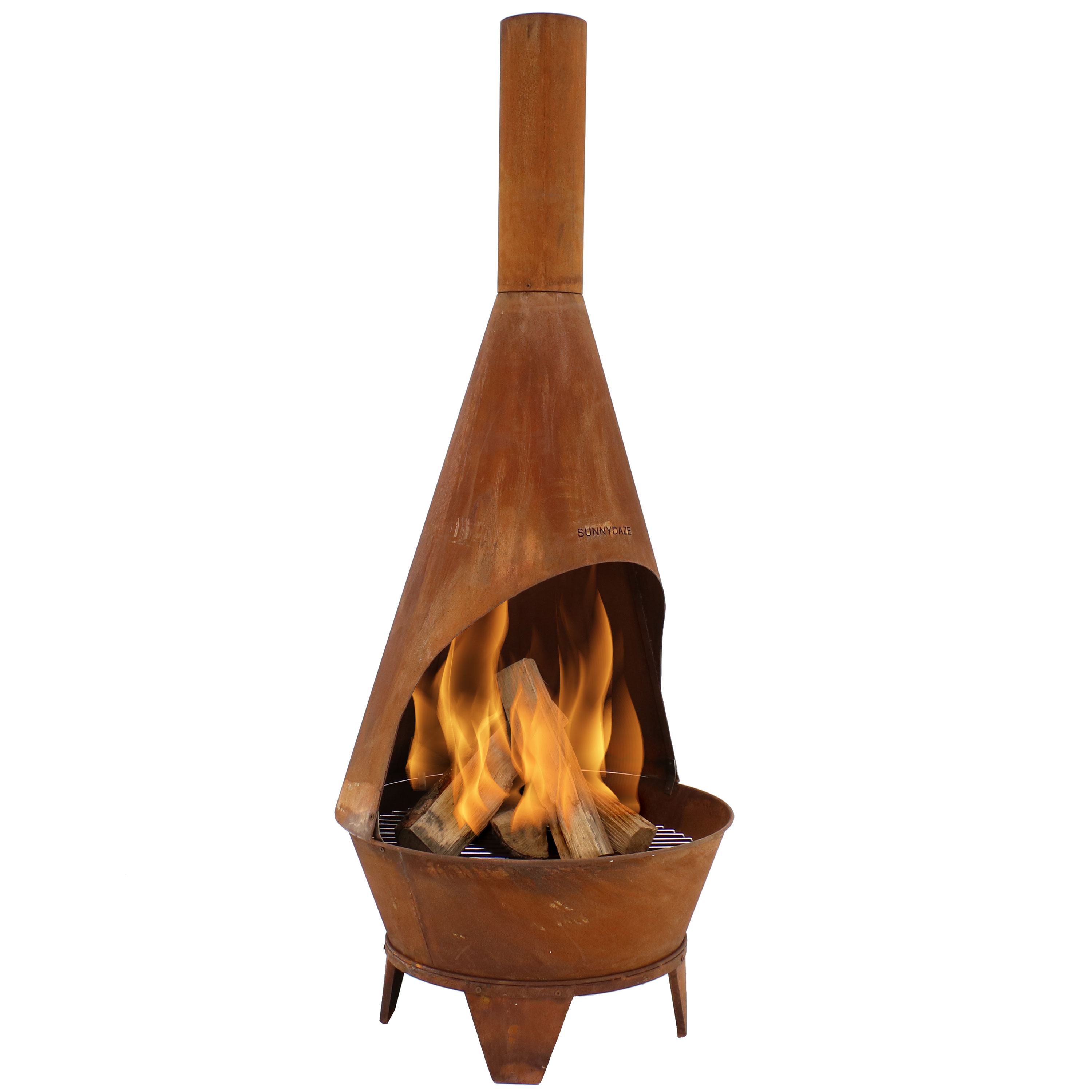 Sunnydaze Chiminea Fire Pit - Large Outdoor Patio Wood-Burning Mexican Style Backyard Fireplace Stove - Oxidized Rustic Cold-Rolled Steel - 6 Foot Tall
