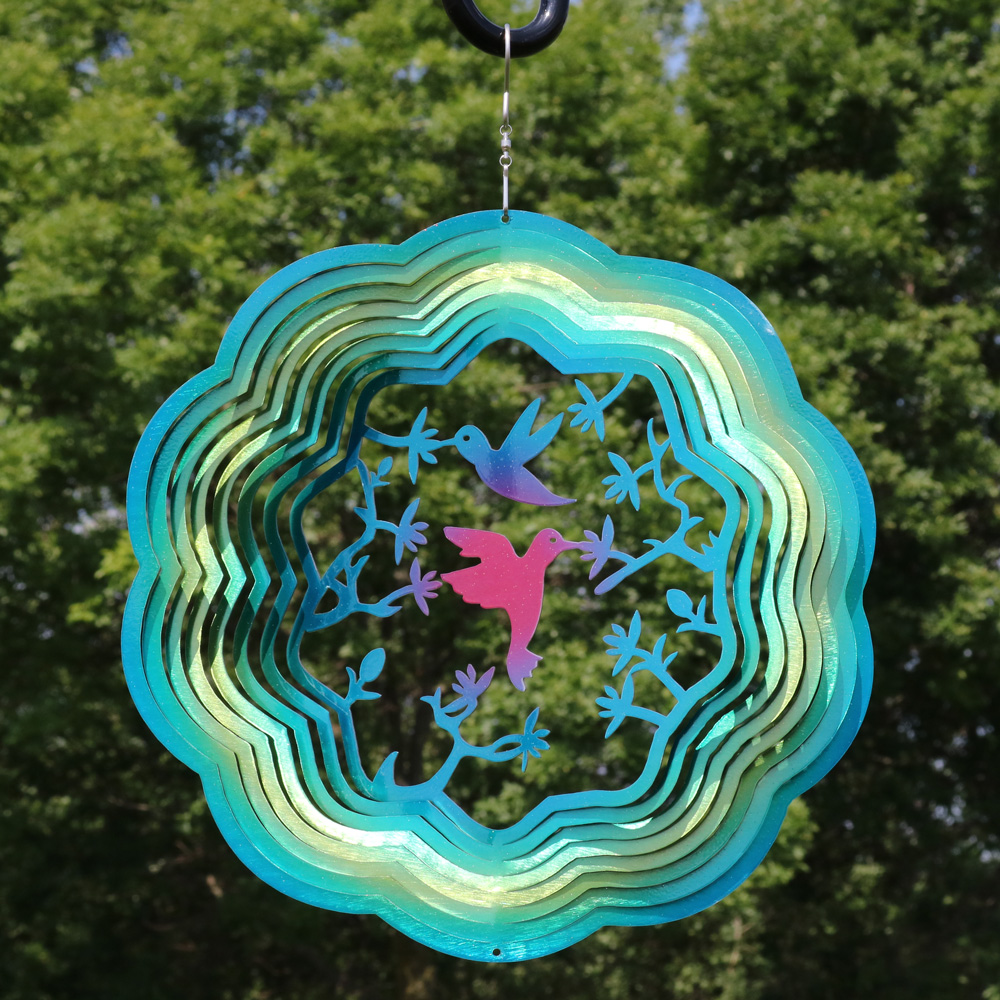 Sunnydaze 12 Inch 3D Whirligig Turquoise Hummingbird Wind Spinner with Hook