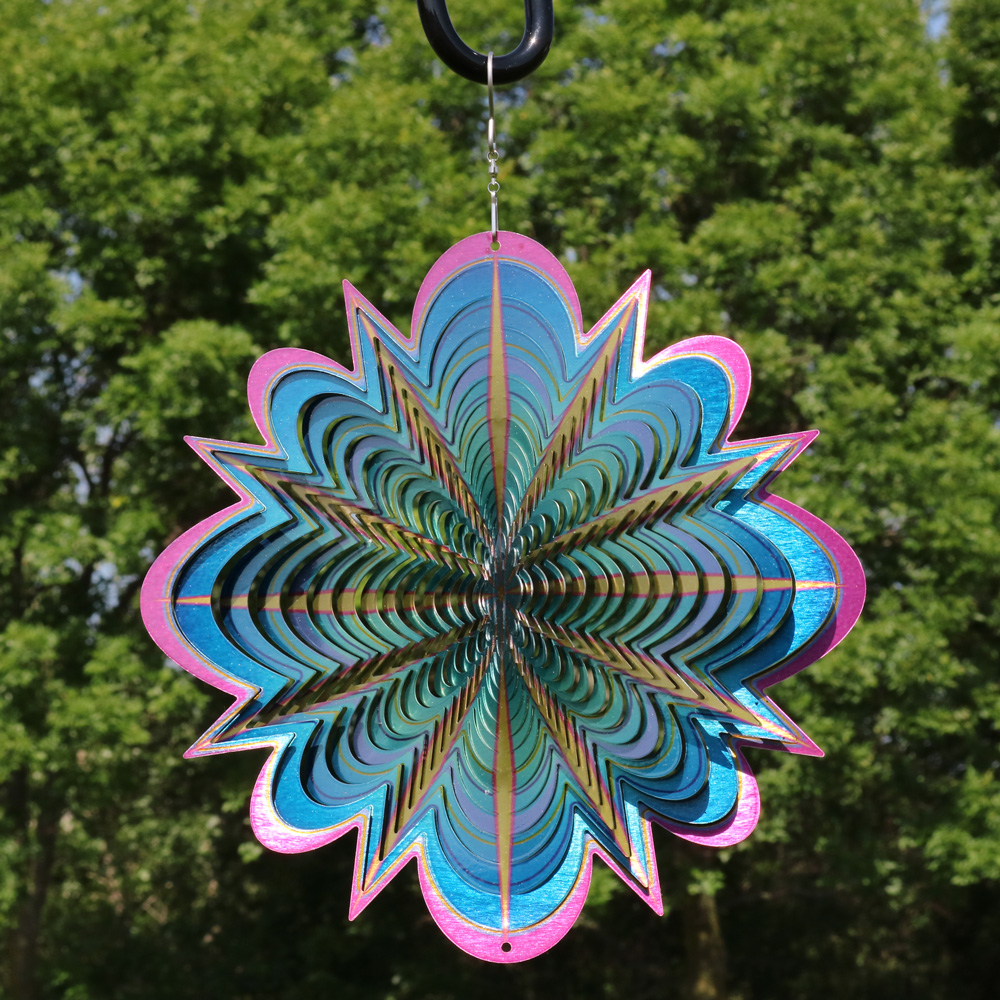 Sunnydaze 12 Inch Blue Dream 3D Whirling Wind Spinner with Hook