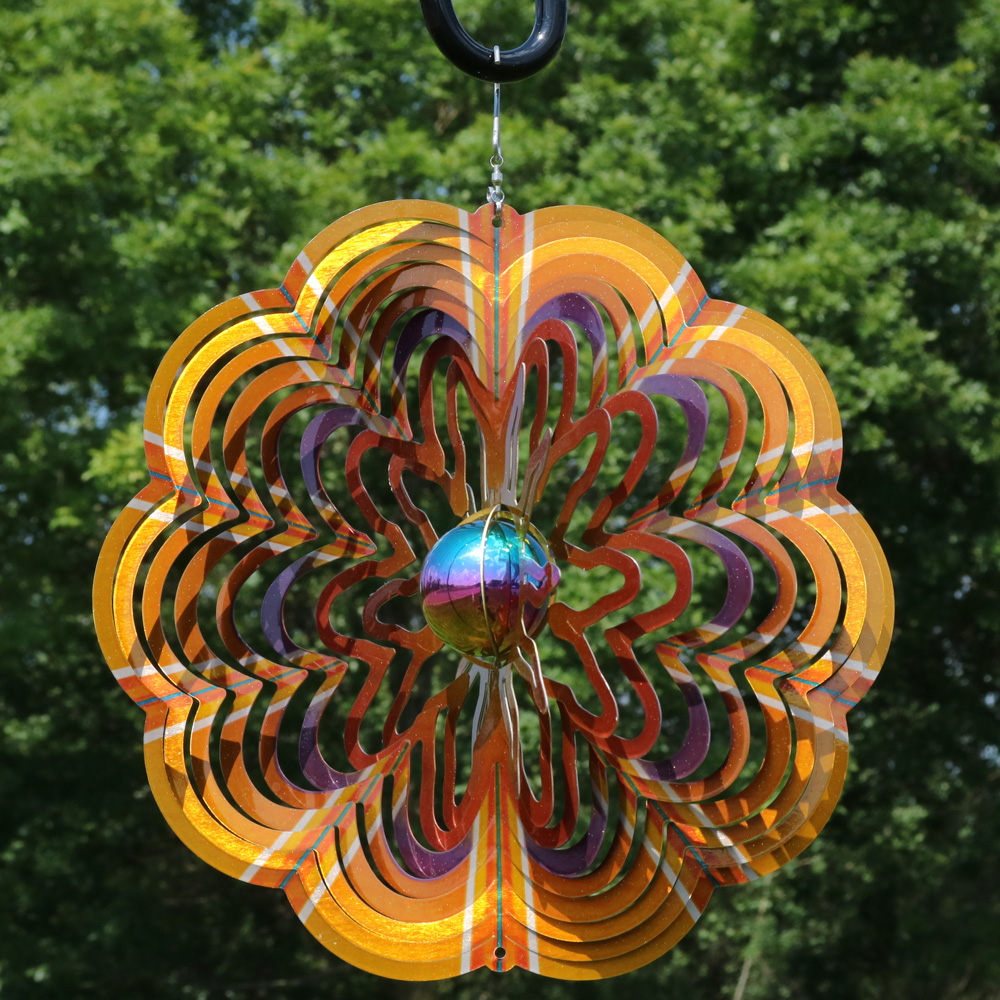 Sunnydaze Gold Dust 3D Whirligig Wind Spinner with Hook, 12-Inch, No, thank you