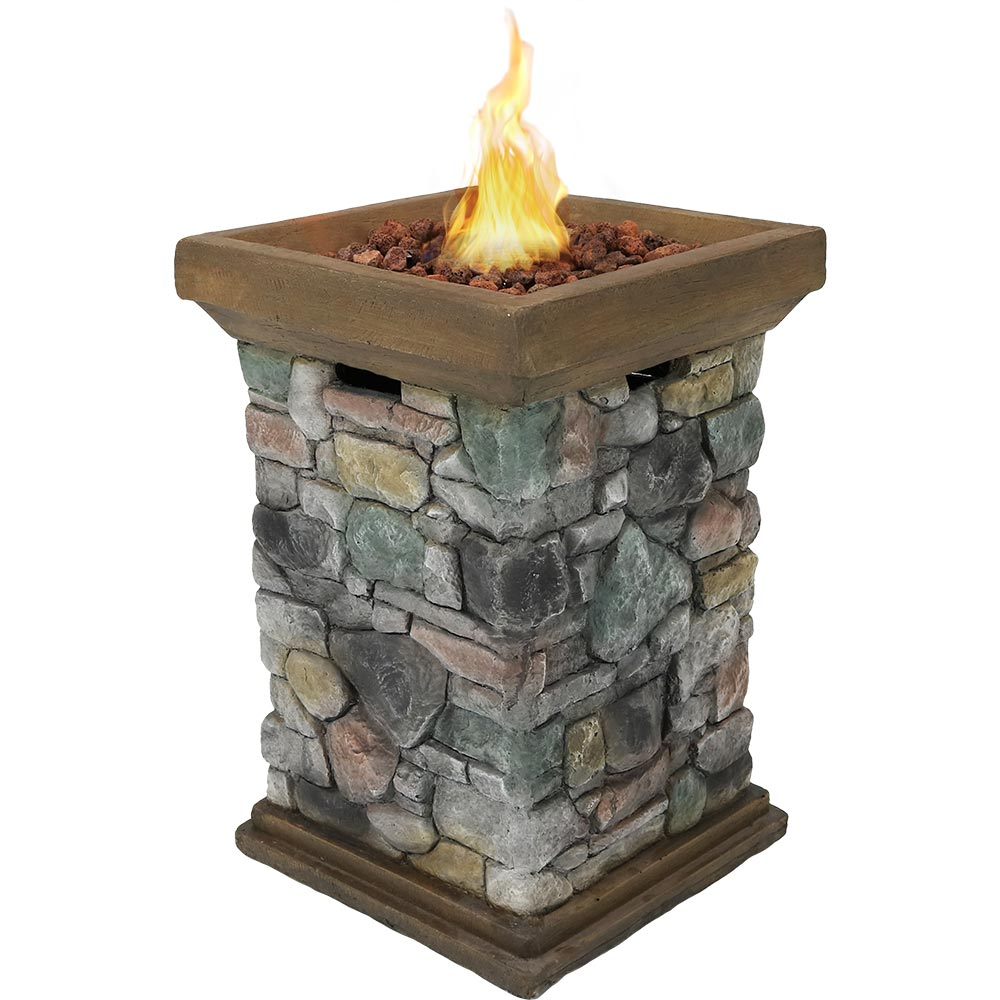 Sunnydaze Outdoor Tall Cast Rock Column Design Propane Gas Fire Pit Picture 261