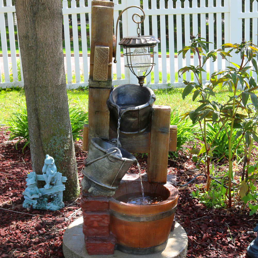 Sunnydaze Rustic Pouring Buckets Outdoor Garden Water Fountain Picture 398