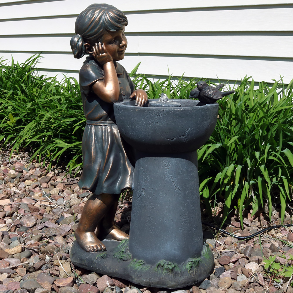 Sunnydaze Little Girl Admiring Water Spout Outdoor Garden Water Fountain Includes Electric Picture 331