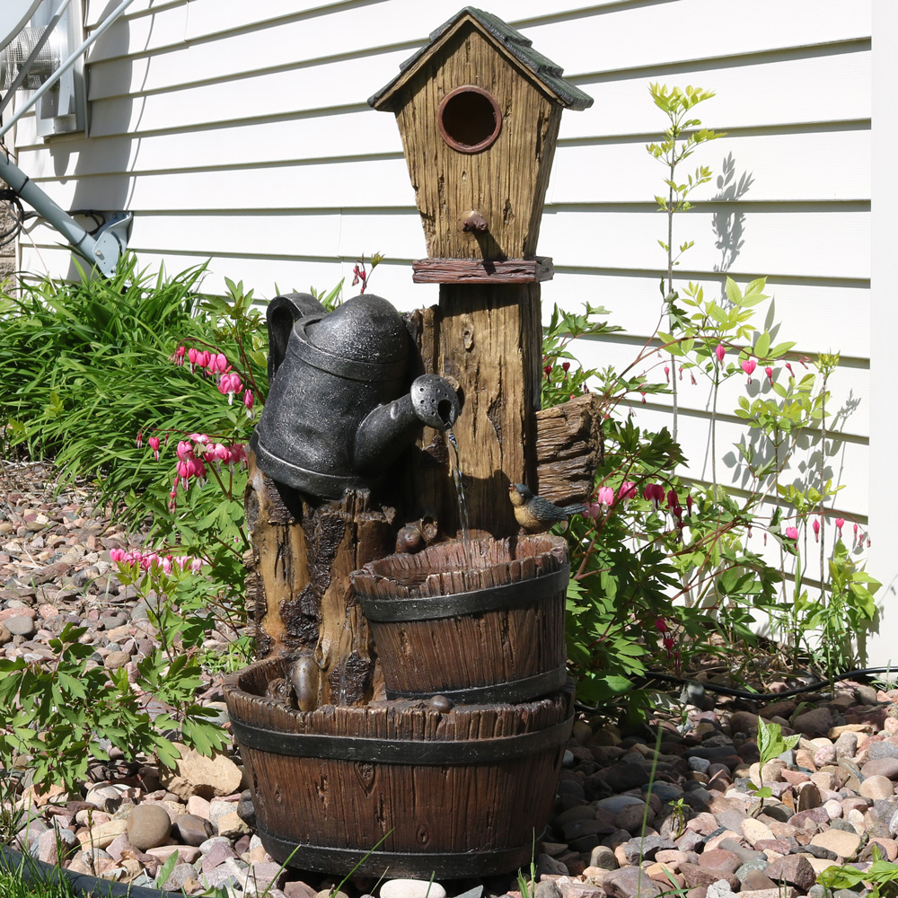 Sunnydaze Rustic Birdhouse Garden Watering Can Outdoor Water Fountain Includes Electric Pu Photo