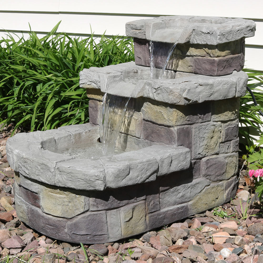 Sunnydaze Tier Brick Steps Outdoor Water Fountain Tall Includes Electric Submersible Pump Picture 244