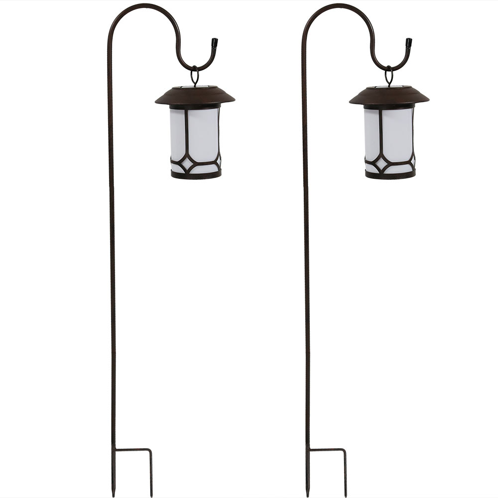 Sunnydaze Traditional Hanging Solar Lantern with Shepherd Hooks, Solar Lights for Outdoor Garden, Landscape, or Yard - Set of 2, 35-Inch Tall