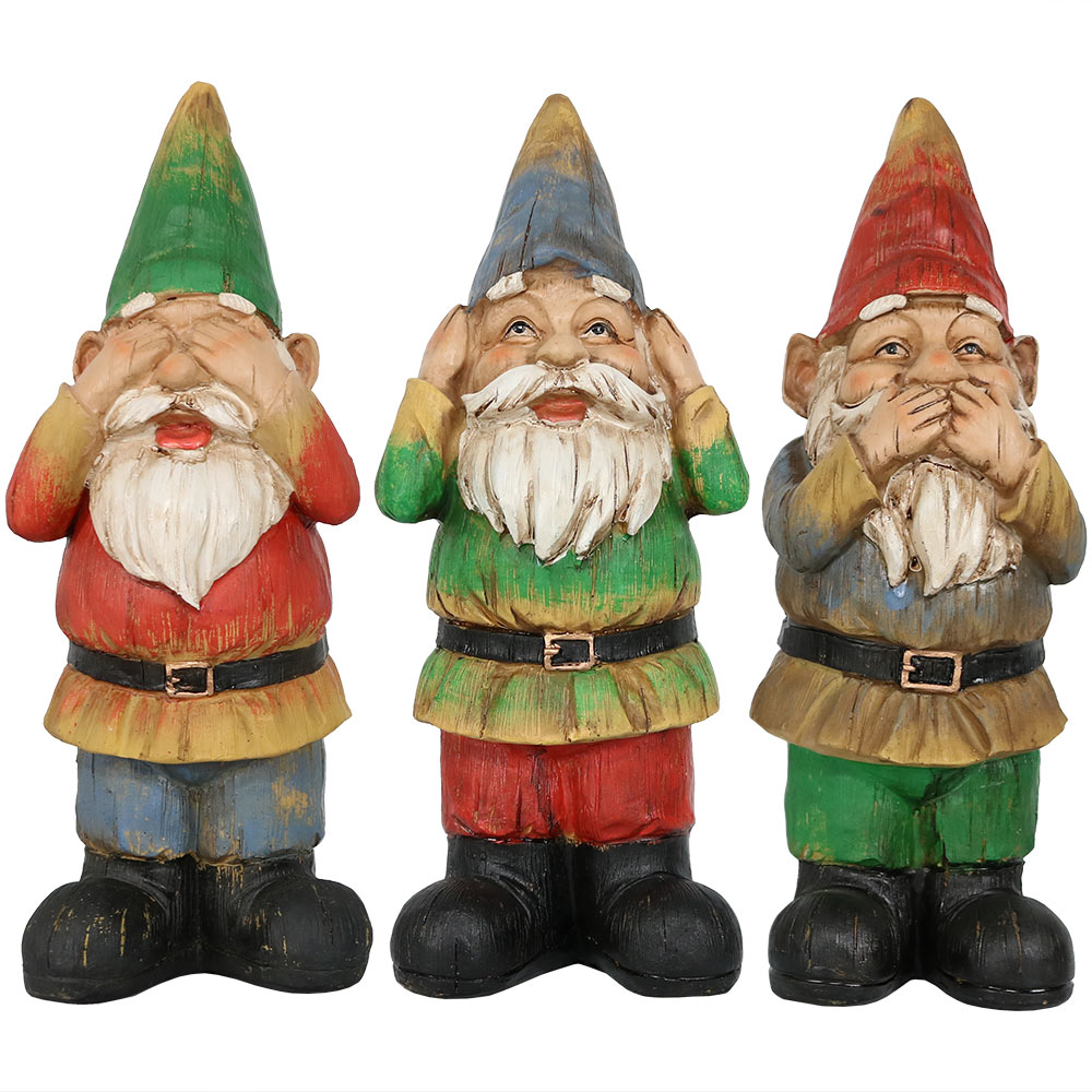 Sunnydaze 3 wise gnomes collection of hear no evil see no for Gnome 3 decoration fenetre