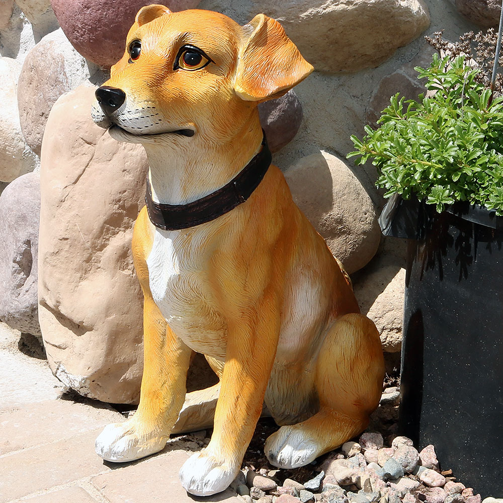 Sunnydaze Tan Jack Russell Terrier Outdoor Garden Dog Statue Picture 848