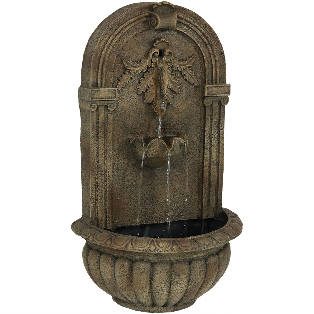 Sunnydaze Florence Outdoor Wall Fountain, Florentine Stone Finish, 27 Inch