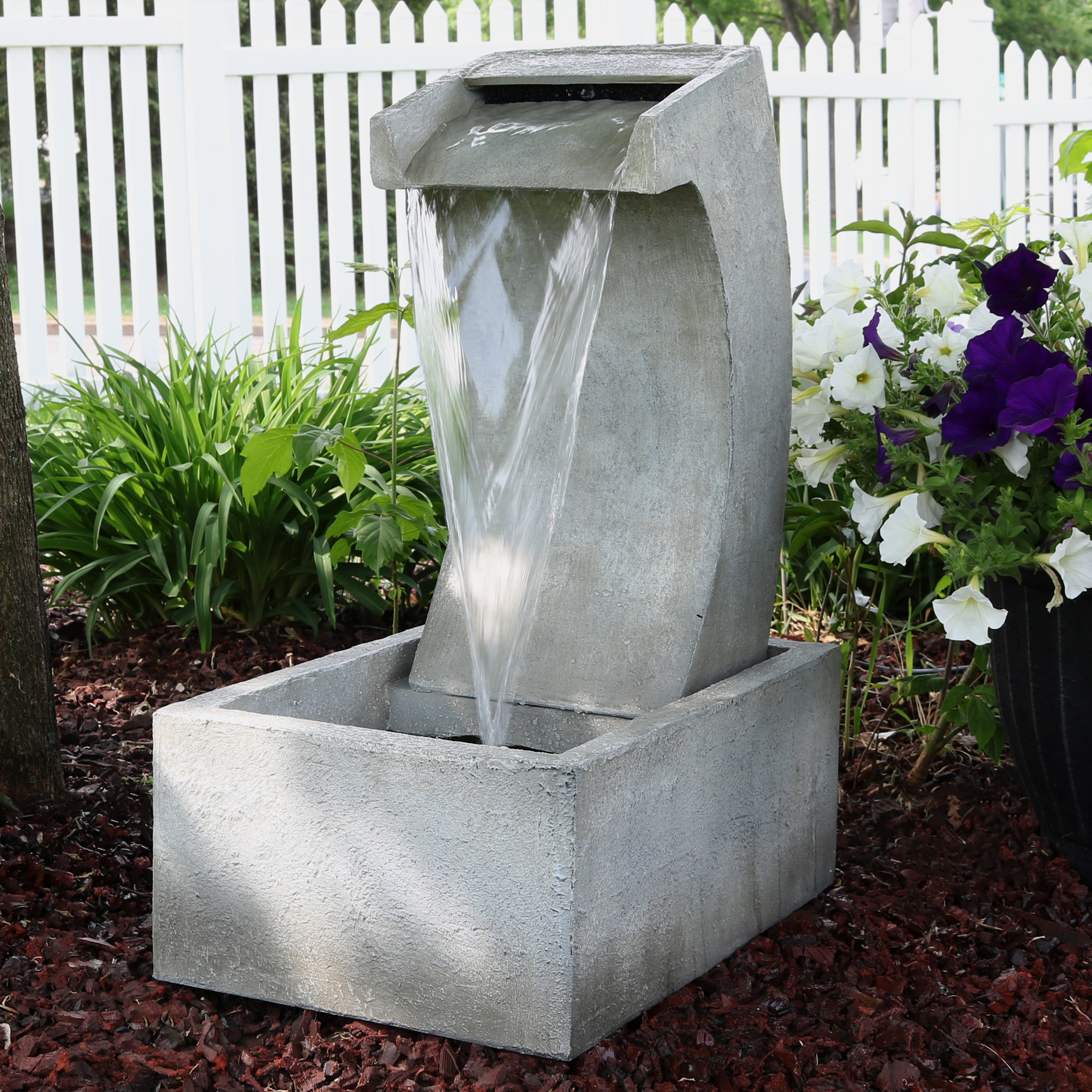 Sunnydaze Modern Arched Outdoor Waterfall Fountain, Patio and Backyard Water Feature, 24-Inch Tall