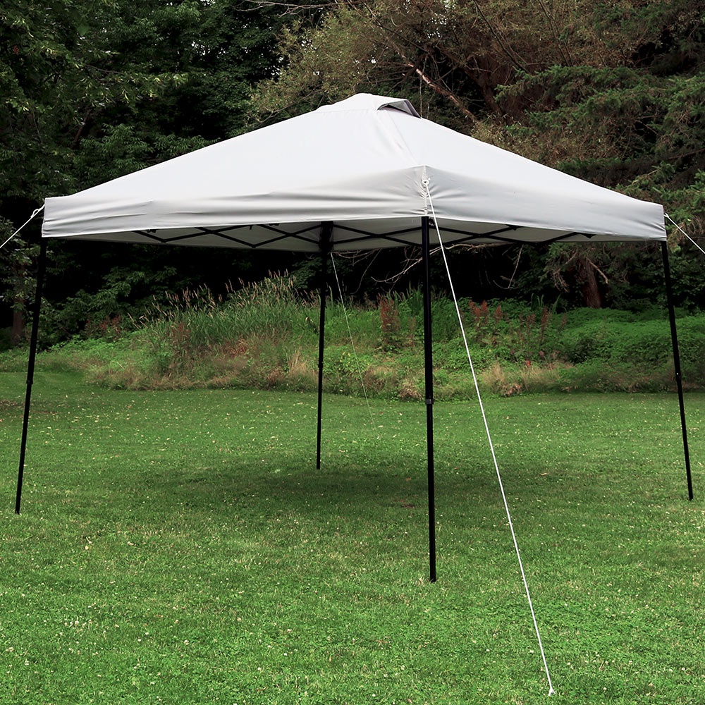 Sunnydaze Heavy-Duty Straight Leg Quick-Up Instant Canopy Event Shelter, 10 x 10 Foot, Grey, Includes Rolling Bag
