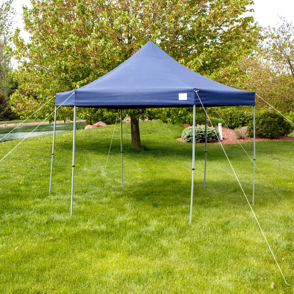 Sunnydaze Penthouse Quick-Up Instant Hexagon Canopy Gazebo with Rolling Bag, 12 Foot, Blue