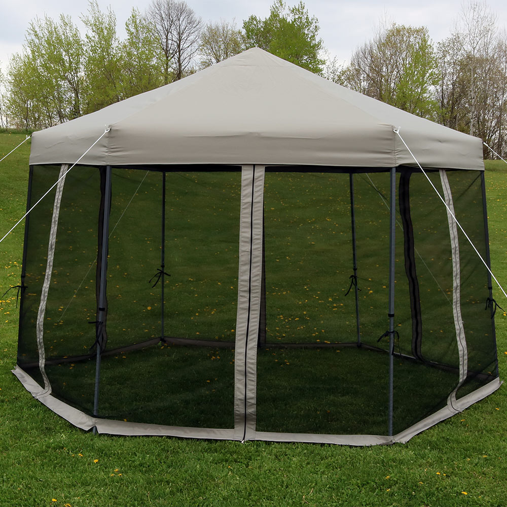 Sunnydaze Penthouse Quick Up Instant Hexagon Canopy Gazebo Image 399