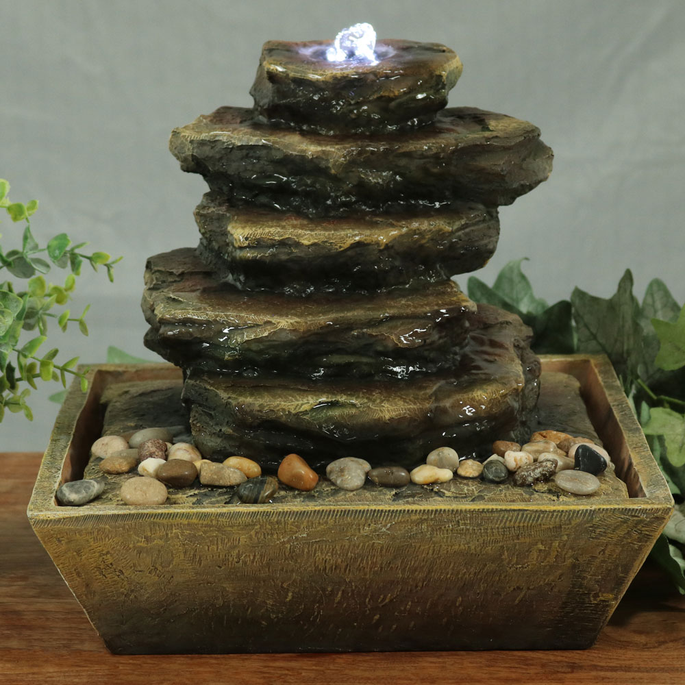 Sunnydaze Cascading Rocks Tabletop Fountain Image 400
