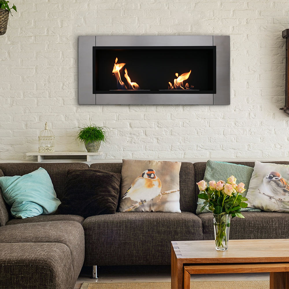 Sunnydaze Scalda Ventless Wall Mounted Bio Ethanol Fireplace Picture 282
