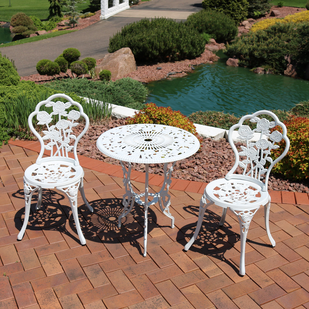 Sunnydaze Flower Designed Cast Aluminum Bistro Set Photo