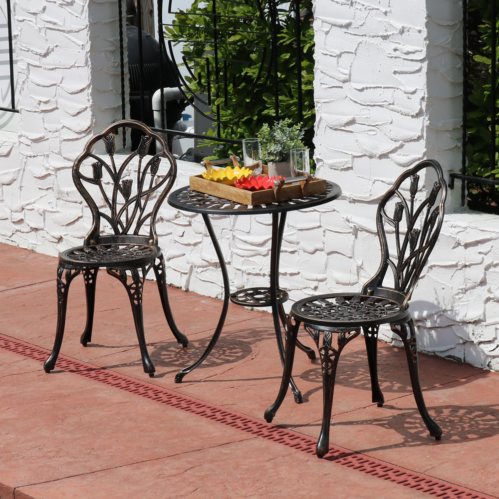 Sunnydaze Outdoor Cast Aluminum Patio Bistro Set Copper Set Image 464