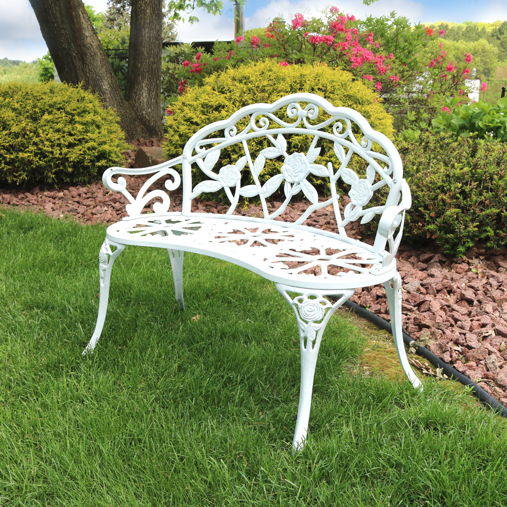 Sunnydaze Person Classic Rose Cast Aluminum Garden Bench Picture 427